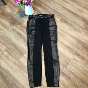 bebe black slim skinny with faux leather side